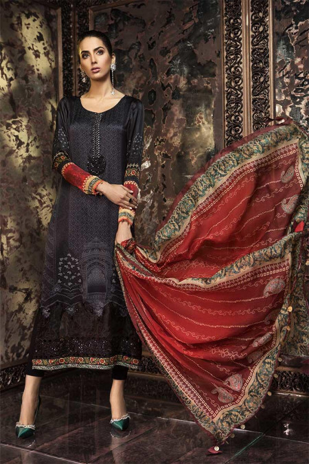 Unstitched Fabrics - Silk MSK-204-Black and Red