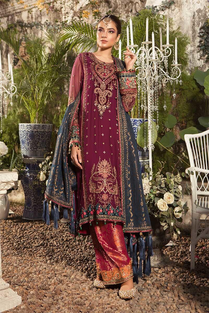 Unstitched MBROIDERED - Deep Magenta and Teal  (BD-1605)
