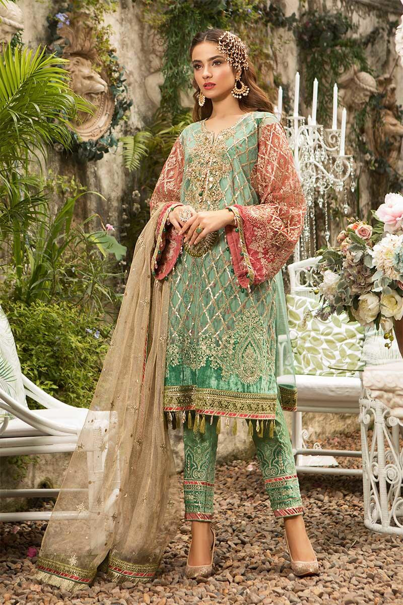 Unstitched MBROIDERED - Aquamarine & Coral (BD-1608)