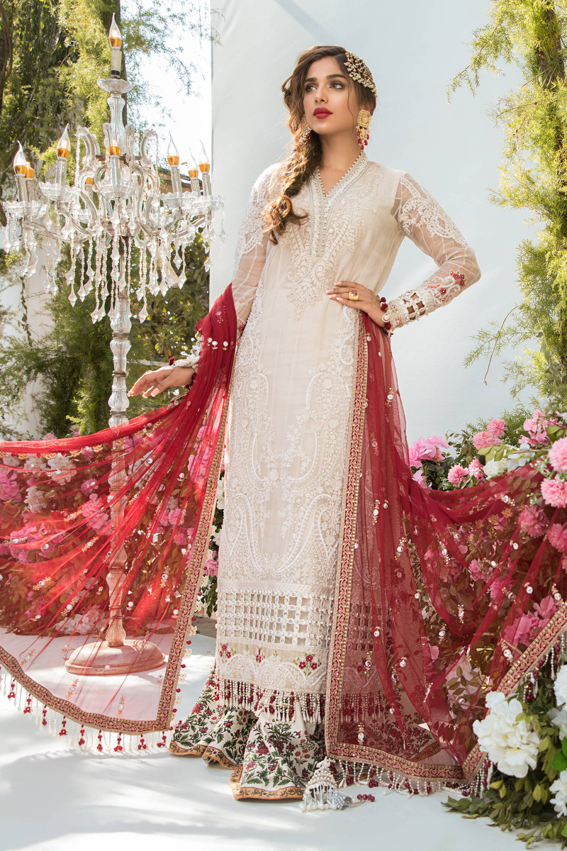Unstitched MBROIDERED - Off White and Deep Red (BD-2103)