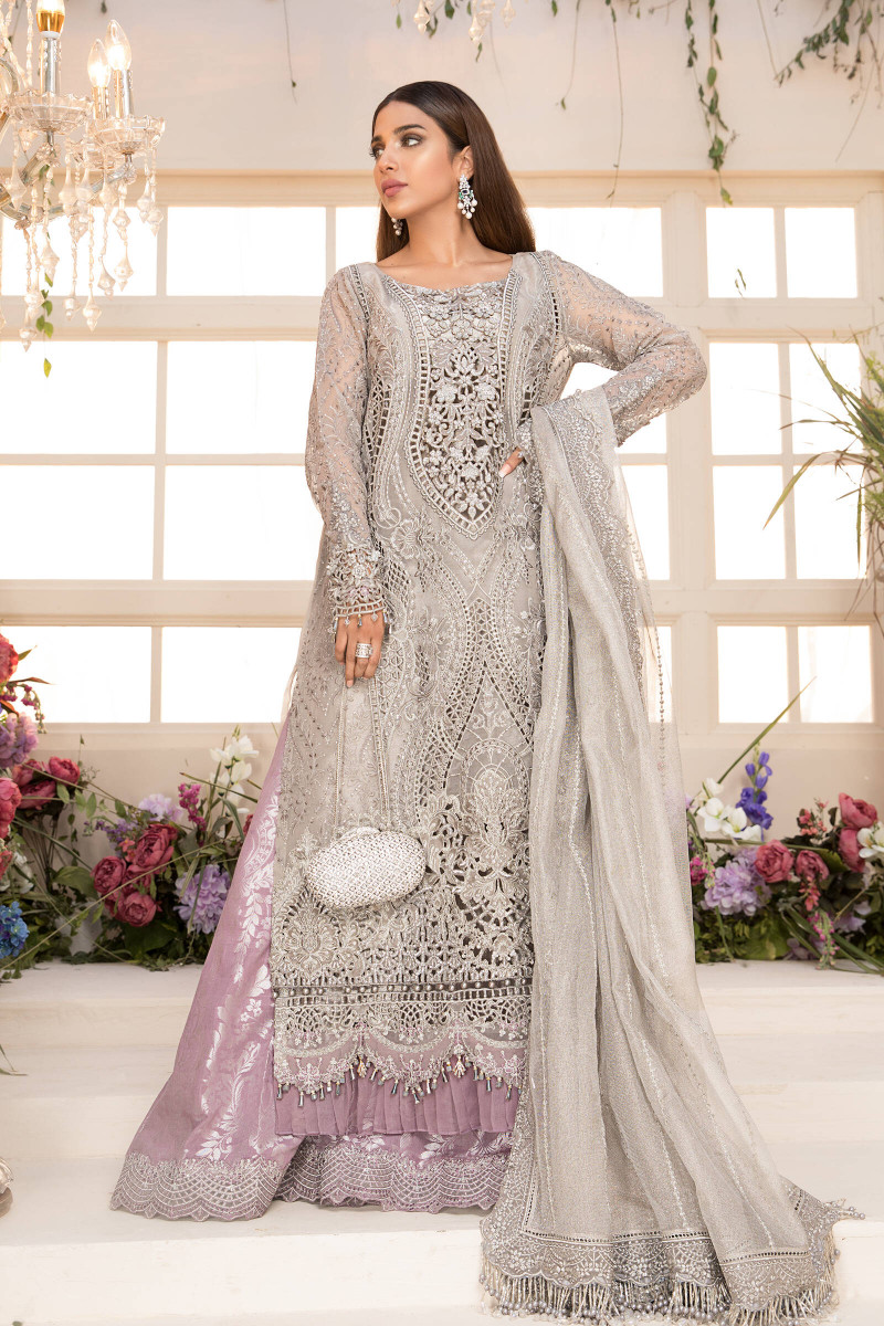 Unstitched MBROIDERED - Grey and Lilac (BD-2108)