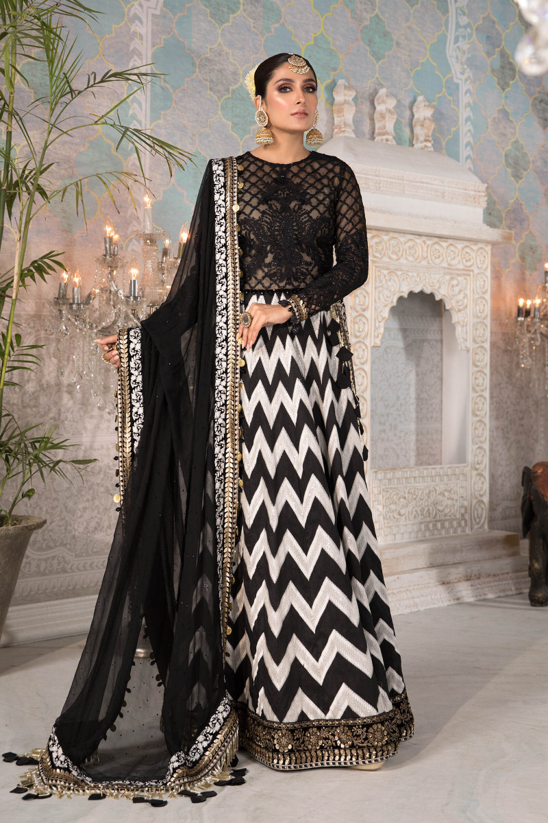 Unstitched MBROIDERED - Black and White with Gold (BD-2203)