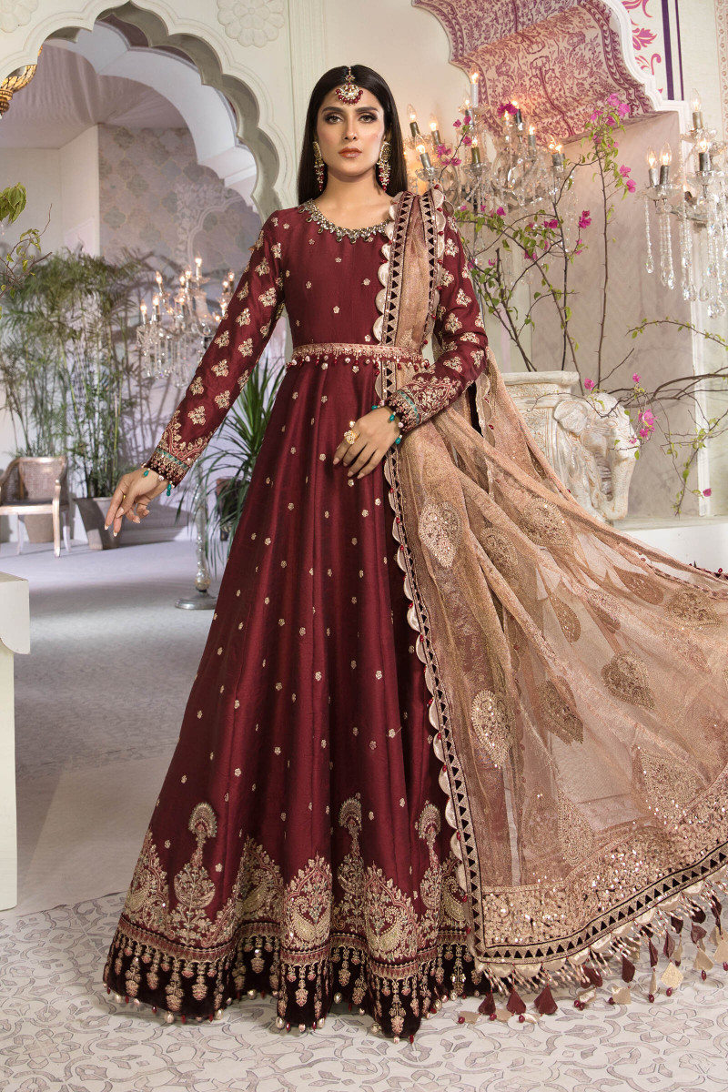 Unstitched MBROIDERED - Maroon and Salmon pink (BD-2204)
