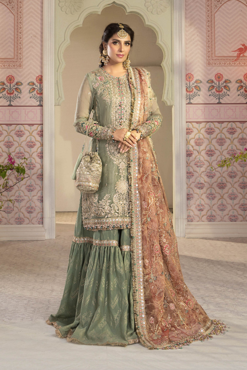 Unstitched MBROIDERED - Pistachio Green and Salmon pink (BD-2205)