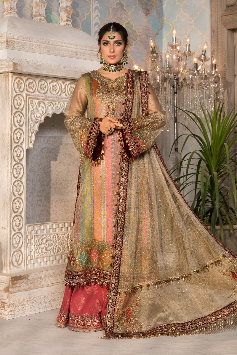 Unstitched MBROIDERED - Bronze, Maroon and Carrot pink (BD-2207)