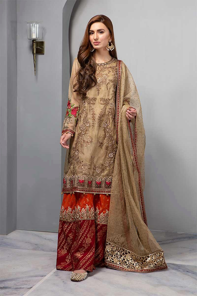 Suit Glittery Gold & Maroon BDS-1606
