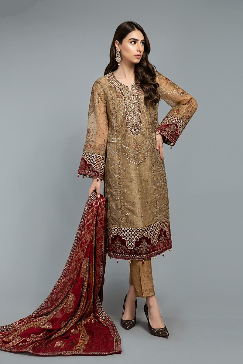 Suit Brunt gold and Ruby BDS-1806