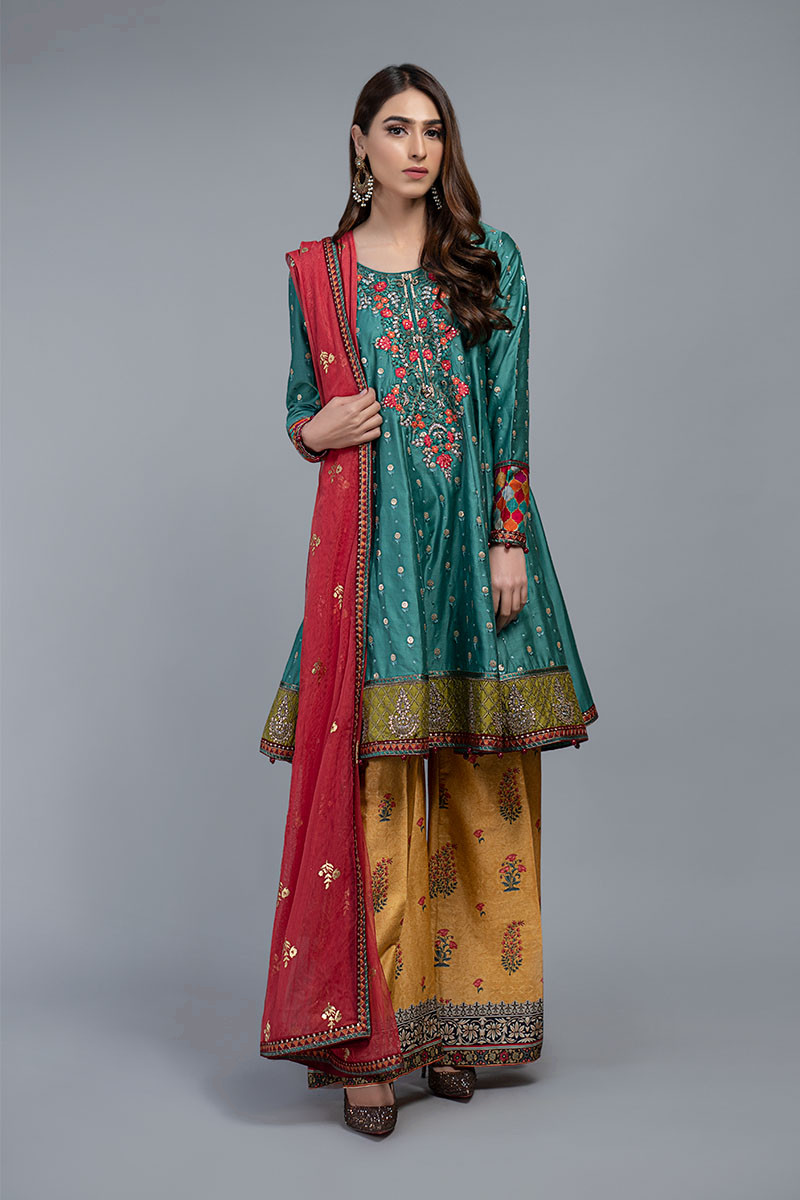 Suit Deep Feroza and Mustard CSS-208