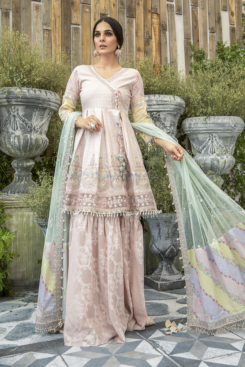 Unstitched Lawn | EL-20-03-Peach and Chata Patti