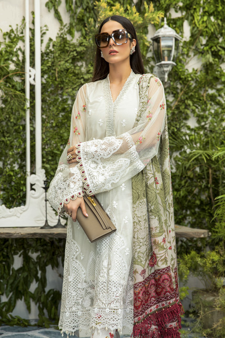 Unstitched Lawn   EL-20-02-Cream with Rose Buds