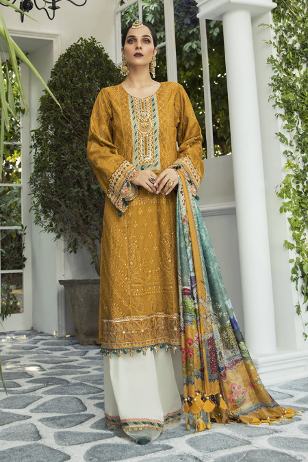 Unstitched Lawn   EL-20-04-Mustard and Teal