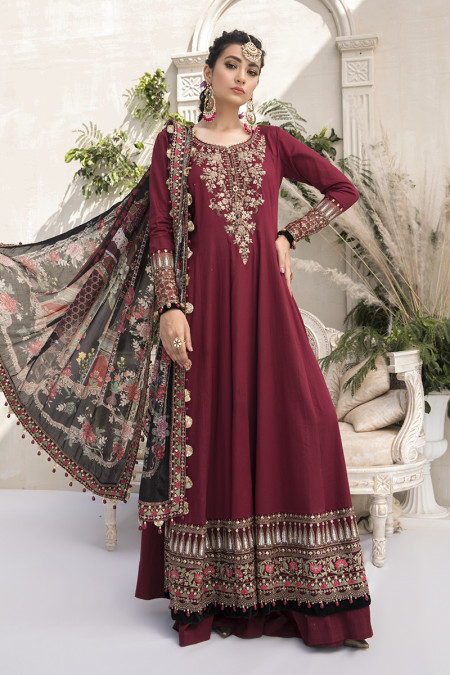 Unstitched Sateen CST-307-Maroon