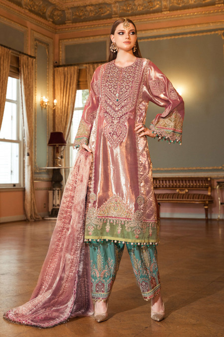 Unstitched MBROIDERED - Salmon Pink (BD-2008)